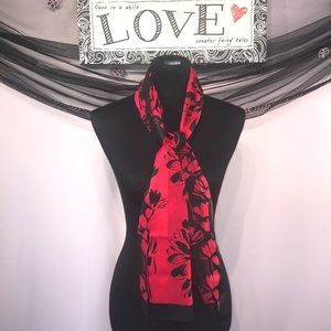 Red and Black floral Scarf ♥️